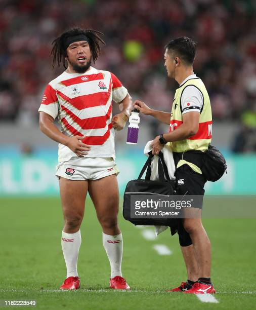 Shota Horie of Japan received medical attention during the Rugby World Cup 2019 Quarter Final match between Japan and South Africa at the Tokyo...