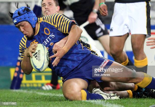 Shota Horie of Otago scores a try during the round 13 ITM Cup match between Otago and Wellington at Forsyth Barr Stadium on October 6, 2012 in...