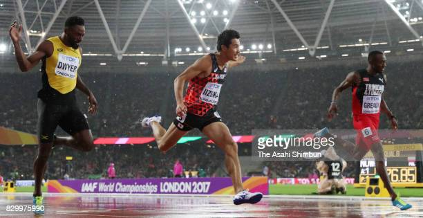 Shota Iizuka of Japan competes in the Men's 200 metres semi finals during day six of the 16th IAAF World Athletics Championships London 2017 at The...