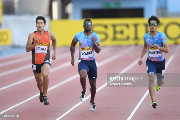 Shota Iizuka of Japan Isiah Young of the USA and Kenji Fujimitsu of Japan compete in the Men's 200m during the SEIKO Golden Grand Prix at Todoroki...