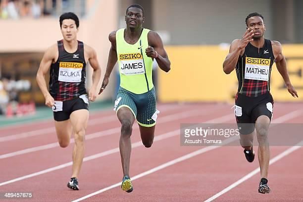 Shota Iizuka of Japan Kirani James of Grenada and Michael Mathieu of Bahamas competes in Men's 200m Final during the Seiko Golden Grand Prix Tokyo...