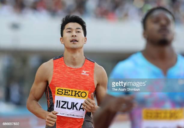 Shota Iizuka of Japan reacts after competing in the Men's 200m during the Seiko Golden Grand Prix at Todoroki Stadium on May 21 2017 in Kawasaki...