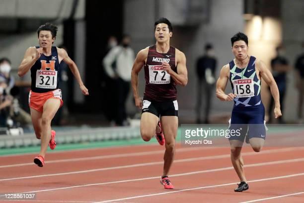 Shota Iizuka , Yuki Koike and Kazuma Higuchi compete in the Men's 200m final on day three of the 104th JAAF Athletics Championships at Denka Big Swan...