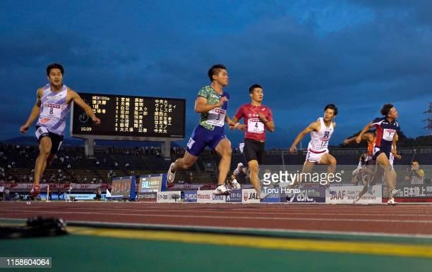 Shota Iizuka, Yuki Koike, Yoshihide Kiryu and other athletes compete in the Men's 100m semifinal on day one of the 103rd JAAF Athletics Championships...