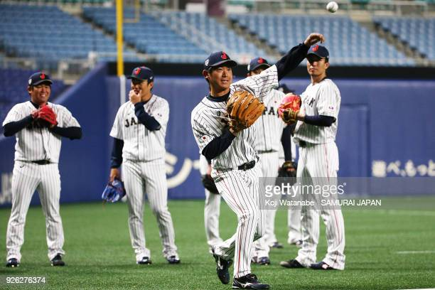Shota Imanaga of Japan in actin during a Japan training session at the Nagoya Dome on March 2 2018 in Nagoya Aichi Japan