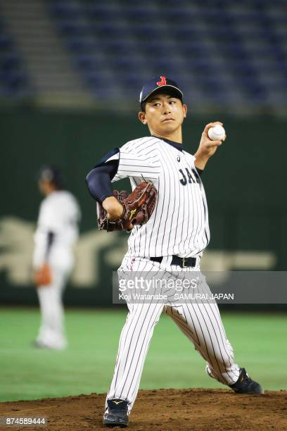Shota Imanaga of Japan in action during the Eneos Asia Professional Baseball Championship Official Training Press Conference at Tokyo Dome on...