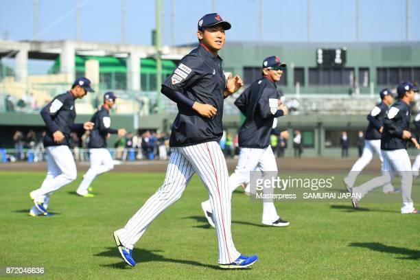 Shota Imanaga of Samurai Japan in action during a Japan training session on November 9 2017 in Miyazaki Japan