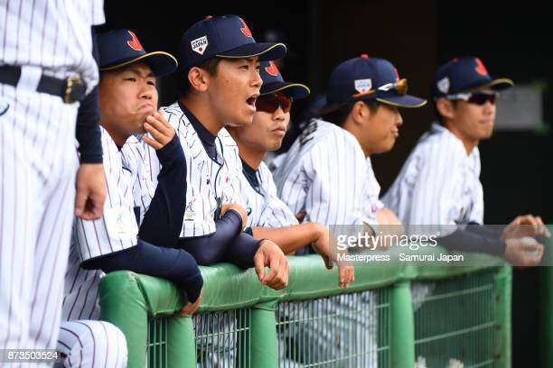 Shota Imanaga of Samurai Japan looks on during a practice game between Japan and Saitama Seibu Lions at Sokken Stadium on November 13 2017 in...