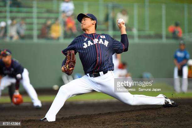 Shota Imanaga of Samurai Japan throws a pitch during the practice game between Japan and Hokkaido Nippon Ham Fighters at Sokken Stadium on November...
