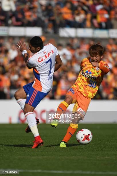 Shota Kaneko of Shimizu SPulse and Rony of Albirex Niigata compete for the ball during the JLeague J1 match between Shimizu SPulse and Albirex...