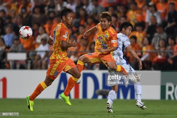 Shota Kaneko of Shimizu SPulse in action during the JLeague J1 match between Shimizu SPulse and Ventforet Kofu at IAI Stadium Nihondaira on June 25...