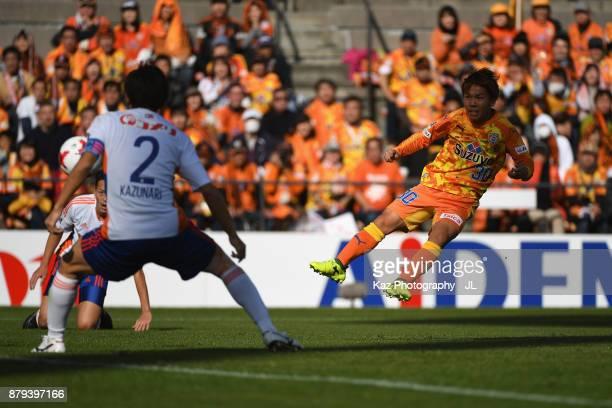 Shota Kaneko of Shimizu SPulse shoots at goal during the JLeague J1 match between Shimizu SPulse and Albirex Niigata at IAI Stadium Nihondaira on...