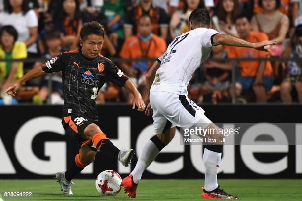 Shota Kaneko of Shimizu SPulse takes on Matej Jonjic of Cerezo Osaka during the JLeague J1 match between Shimizu SPulse and Cerezo Osaka at IAI...