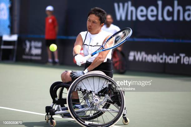 Shota Kawano of Japan plays a backhand during the final of the men's quad doubles against Bryan Barten and David Wagner of The USA on day five of The...