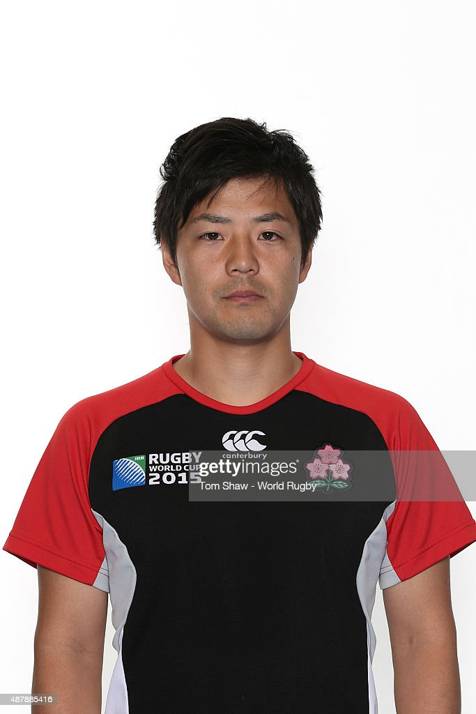 Shota Nakajima of Japan poses for a portrait during the Japan Rugby World Cup 2015 squad photo call in Brighton on September 12, 2015 in Brighton, England.