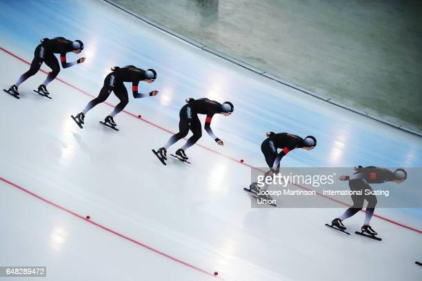 Shota Nakamura of Japan competes in the Men's 10000m during day two of the World Allround Speed Skating Championships at Hamar Olympic Hall on March...