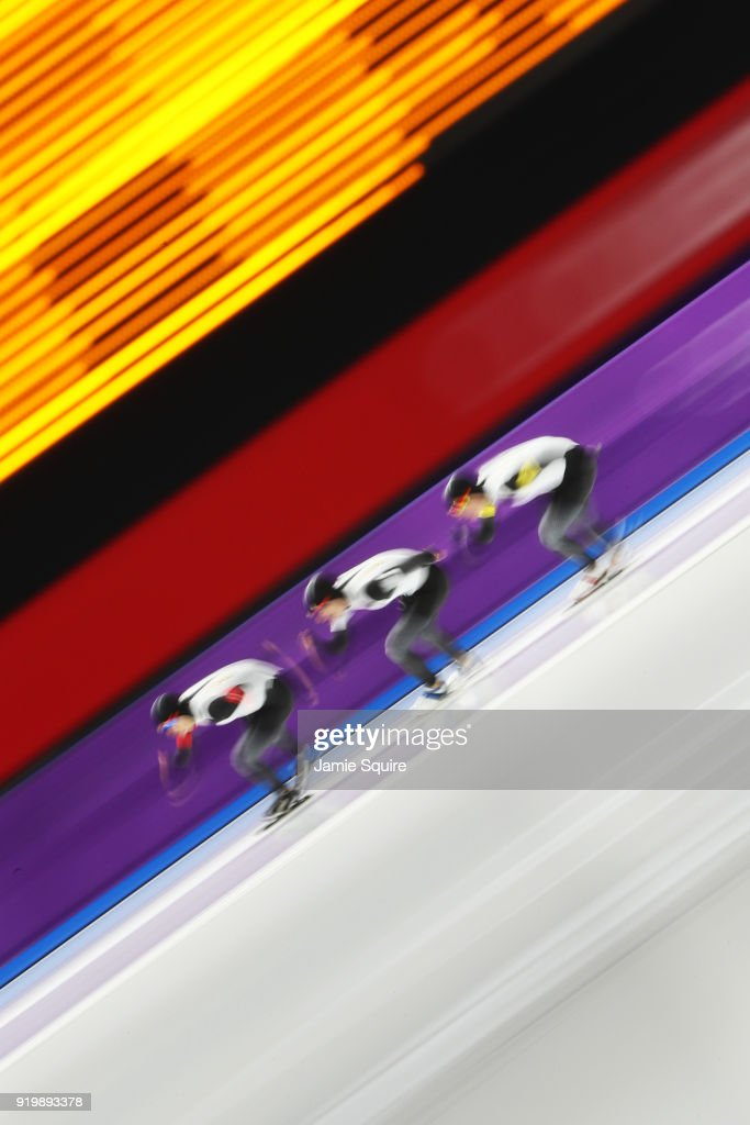 Shota Nakamura, Shane Williamson and Seitaro Ichinohe of Japan compete during the Men's Team Pursuit Speed Skating Quarter Finals on day nine of the PyeongChang 2018 Winter Olympic Games at Gangneung Oval on February 18, 2018 in Gangneung, South Korea.