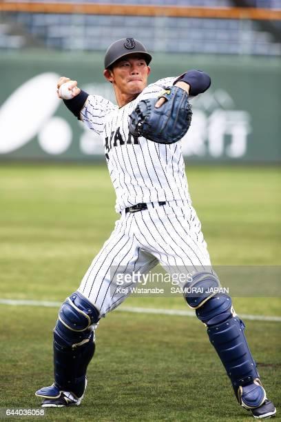 Shota Ohno of Japan in action during SAMURAI JAPAN's training camp at the Sun Marine Stadium Miyazaki on February 23 2017 in Miyazaki Japan