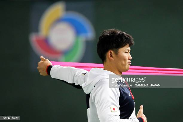 Shota Ohno of SAMURAI JAPAN in action during on the practice day during the World Baseball Classic at Tokyo Dome on March 11 2017 in Tokyo Japan
