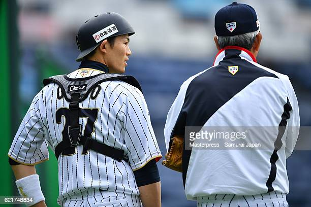 Shota Ohno of SAMURAI JAPAN looks on during the Japan national baseball team practice session at the QVC on November 8 2016 in Tokyo Japan