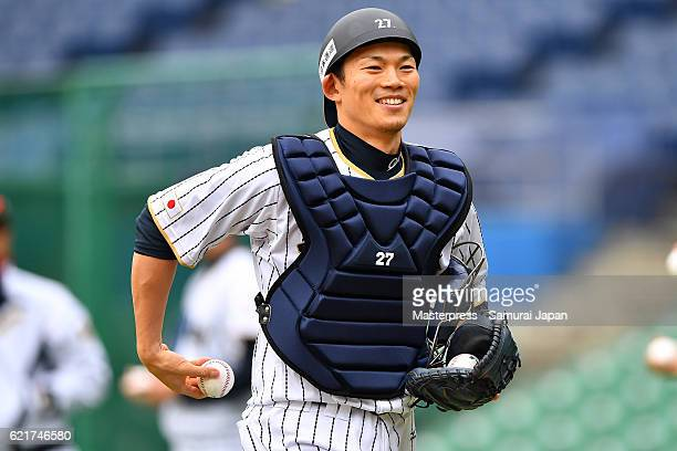 Shota Ohno of SAMURAI JAPAN smiles during the Japan national baseball team practice session at the QVC on November 8 2016 in Tokyo Japan