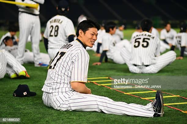 Shota Ohno of SAMURAI JAPAN smiles during the Japan national baseball team practice session at the Tokyo Dome on November 9 2016 in Tokyo Japan