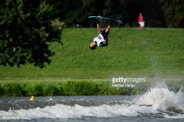Shota Tezuka of Japan competes during the Wakeboard Freestyle Men's Quarterfinal of The World Games at Old Odra River on July 25 2017 in Wroclaw...