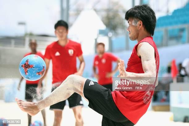 Shotaro Haraguchi controles the ball during a Japan training session before the FIFA Beach Soccer World Cup Bahamas 2017 at National Beach Soccer...