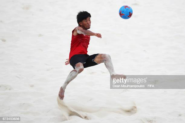 Shotaro Haraguchi of Japan attempts a scissor or bicycle kick shot on goal during the Japan training session before the FIFA Beach Soccer World Cup...