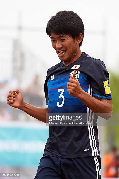Shotaro Haraguchi of Japan celebrates scoring during the Continental Beach Soccer Tournament match between Japan and Thailand at Municipal Sports...