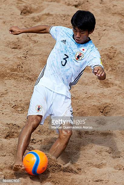 Shotaro Haraguchi of Japan in action during the Continental Beach Soccer Tournament match between Japan and Iran at Municipal Sports Center on August...