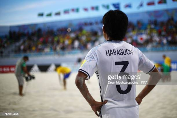 Shotaro Haraguchi of Japan looks dejected after defeat in the FIFA Beach Soccer World Cup Bahamas 2017 group D match between Braziland Japan at...
