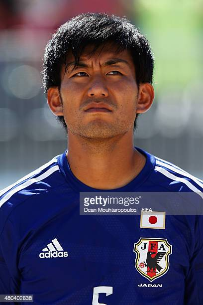 Shotaro Haraguchi of Japan stands for the national anthems prior to the Group A FIFA Beach Soccer World Cup match between Japan and Argentina held at...