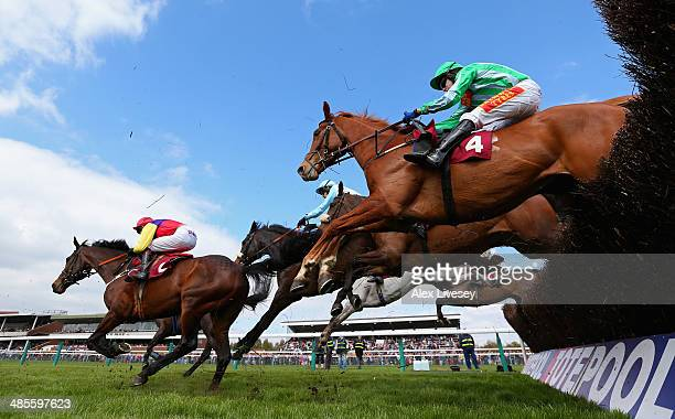 Shotavodka ridden by Tom Scudamore and Hey Big Spender ridden by Brendan Powell clear a fence during The Bet At corbettsportscom Levy Board Handicap...