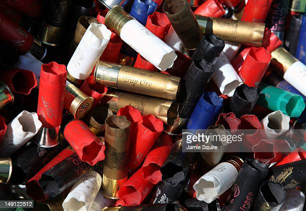 Shotgun shells line a rubbish bin during training for the 2012 Olympic Games skeet event on July 23 2012 at the Royal Artillery Barracks in London...