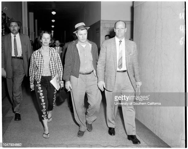 Shotgun slaying suspects arraignment , 21 January 1959. Jessie Noah;Curtis Lichtwalter.;Caption slip reads: 'Photographer: Paegel. Date: . Reporter:...