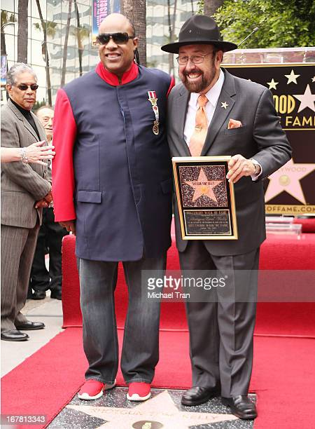 """Shotgun Tom"""" Kelly and Stevie Wonder attend the ceremony honoring """"Shotgun Tom"""" Kelly with a Star on The Hollywood Walk of Fame held on April 30,..."""