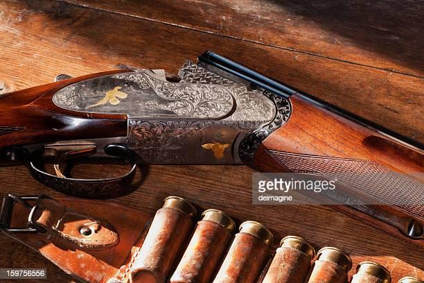 shotgun with bullets - shotgun stock pictures, royalty-free photos & images