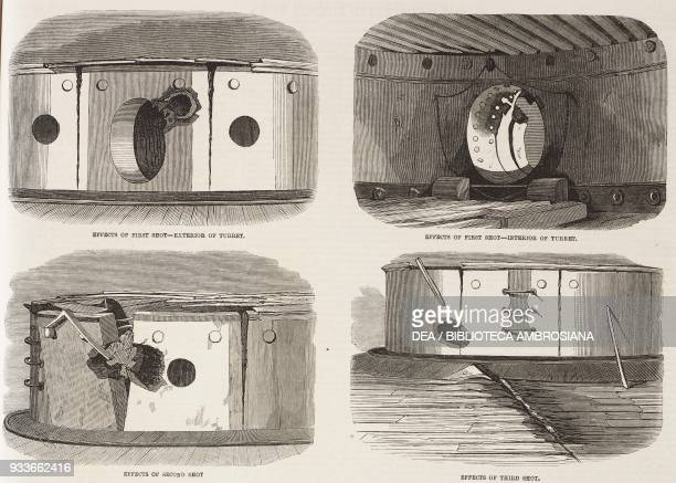 Shotholes in the turret of the Royal Sovereign experimental firing of the Bellerophon ironclad at the Royal Sovereign at Spithead United KIngdom...