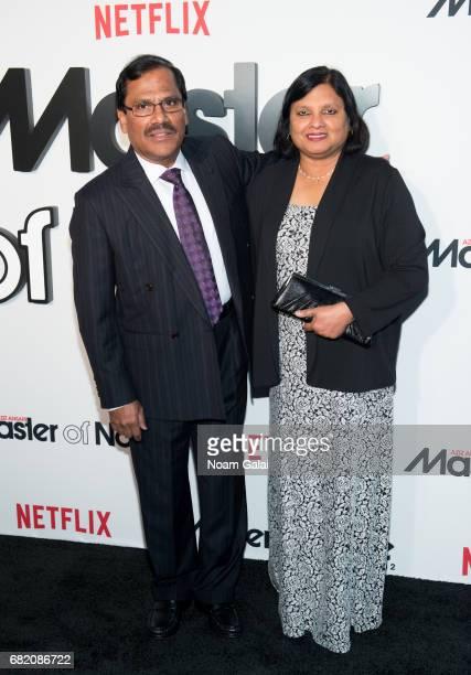 """Shoukath Ansari and Fatima Ansari attend """"Master Of None"""" Season 2 premiere at SVA Theatre on May 11, 2017 in New York City."""