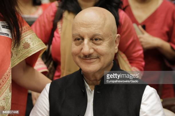 Shoulders up portrait of actor Anupam Kher at the United Nations in New York City New York June 21 2017
