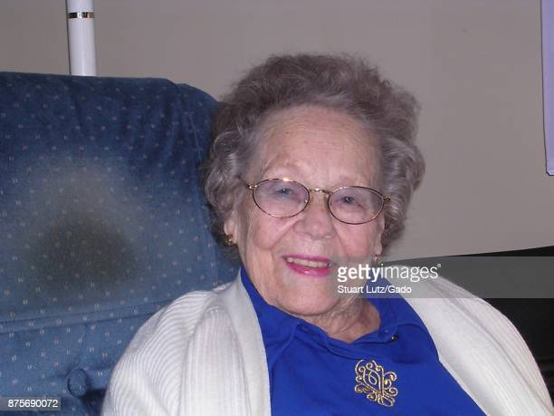 Shoulders up portrait of Pem Farnsworth the wife of television inventor Philo Farnsworth who was the last witness to the first electronic television...