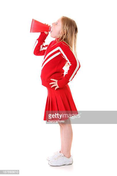 shouting cheerleader in red