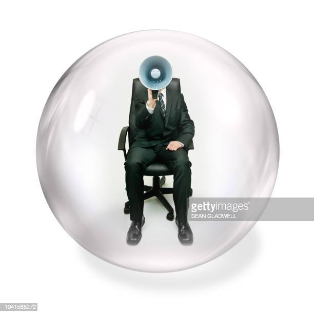 shouting inside bubble - people inside bubbles stock pictures, royalty-free photos & images