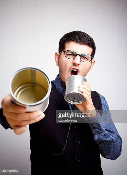 Shouting into a tin can phone