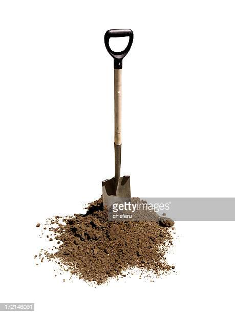 shovel in heap of dirt - dirt stock pictures, royalty-free photos & images