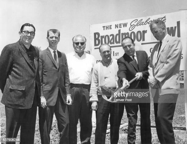 Shovel Makes the First Strike From left Rudy Anselmo manager of Dahlia Bowl Wally Gunderson of radio station KDAB Carroll Quelland builder Bill...