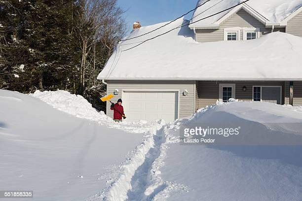 Shoveling snow after a blizzard in Halifax