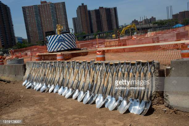 Shovels wait to be used by rappers and politicians and developers at the ground breaking ceremony for the future Universal Hip Hop Museum on May 20,...