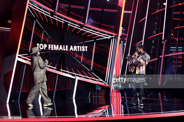 AWARDS Show 2020 BBMA at the Dolby Theater Los Angeles California Pictured In this image released on October 14 Billie Eilish accepts the Top Female...